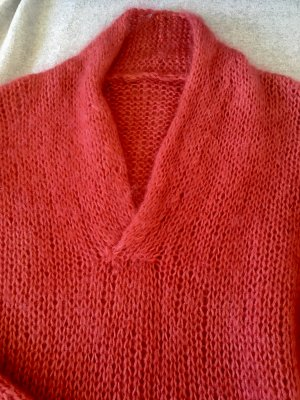 no name V-Neck Sweater neon pink-brick red mohair