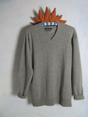Kuschelig Grau Marc O´Polo Pullover  - 100% Superlight Lambswool -  Gr.  XL -  Lederpatch
