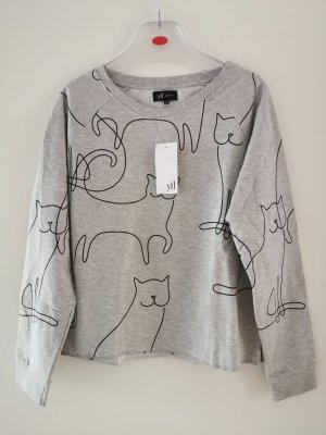 kuschelig innen angerauhtes Sweatshirt mit Katzen Motiv in Grau Gr. M