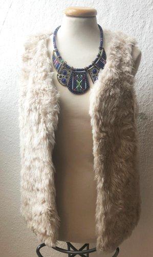 Pimkie Fur vest natural white mixture fibre
