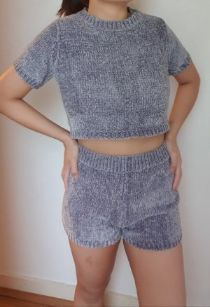 Korean Fashion Maglione twin set grigio