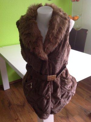 Fur vest brown fake fur