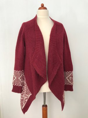 Coarse Knitted Jacket bordeaux-natural white