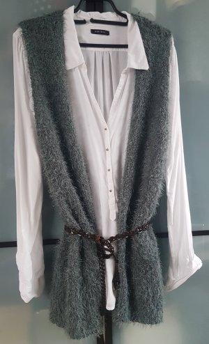 Gilet long tricoté gris vert-vert menthe