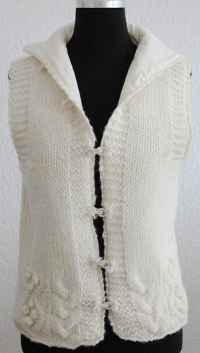 Massimo Dutti Coarse Knitted Jacket natural white wool