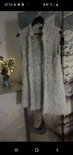 H&M Vest van imitatiebont wit-lichtgrijs