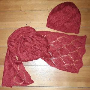 kuschelige Woll Strick Mütze + Schal knallrot