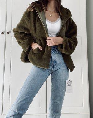 Zara Veste en fausse fourrure vert gazon