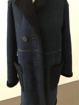 Zara Manteau en fausse fourrure bleu foncé