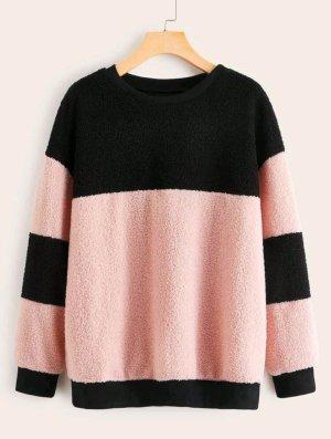 SheIn Crewneck Sweater black-pink