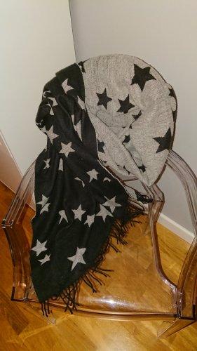 Esprit Wollen sjaal zwart-lichtgrijs