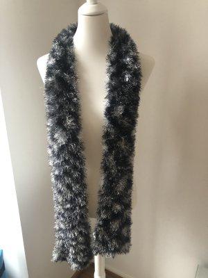 Bufanda de punto negro-color plata