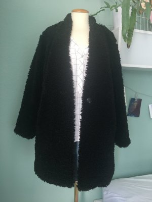 Zara Woman Veste en fausse fourrure noir