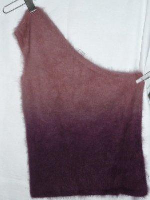 Vintage Cárdigan de punto fino rosa-violeta lana de angora