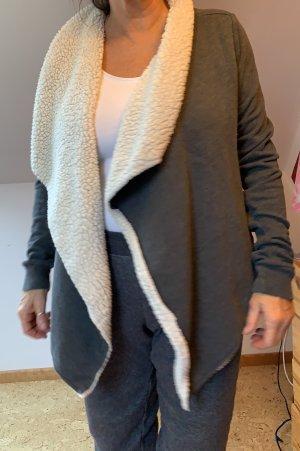 Abercrombie & Fitch Fleece Jackets dark grey-oatmeal
