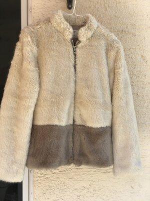 Zara Trafaluc Kurtka ze sztucznym futrem kremowy-beżowy