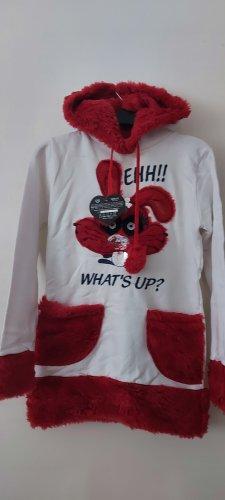 keine Ahnung Hooded Shirt white-red