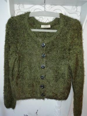 Oui Chaqueta de lana gris verdoso-verde oliva