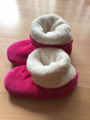 Pantoufles-chaussette rose-blanc cassé