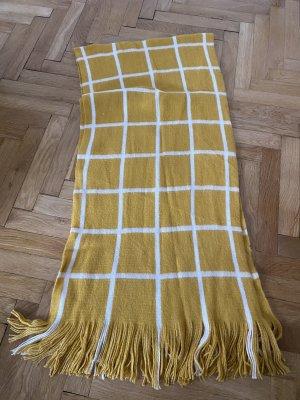 H&M Fringed Scarf yellow-white