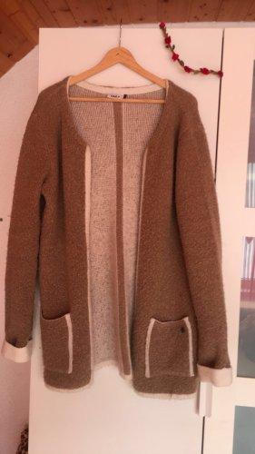 Only Manteau en tricot marron clair-blanc