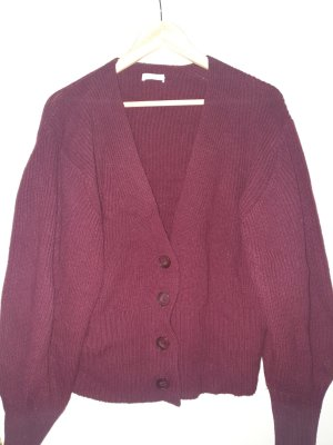 Kuschliger weinroter Cardigan 100% Wolle