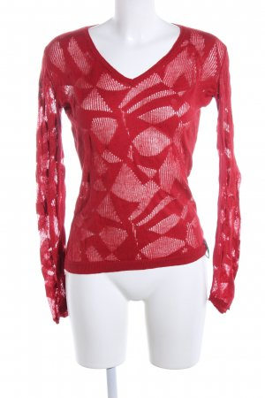 Kuyichi V-Ausschnitt-Pullover rot abstraktes Muster Casual-Look