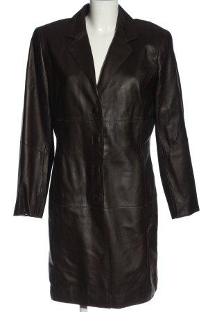 Kyria by K.M. Manteau en cuir noir style décontracté