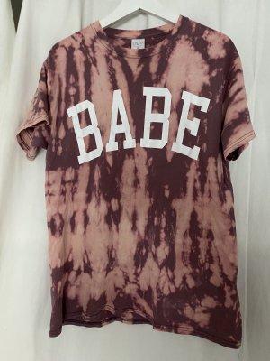 """L.A.LU Design T-Shirt """"Babe"""" Rosa gebatikt in M"""