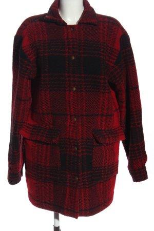 L.A.LU Płaszcz z dzianiny czerwony-czarny Wzór w kratkę W stylu casual