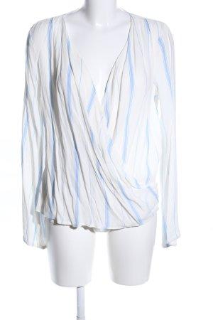 L'academie Langarm-Bluse weiß-blau Streifenmuster Casual-Look