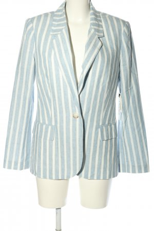 L'Agence Blazer lungo bianco-blu motivo a righe stile professionale