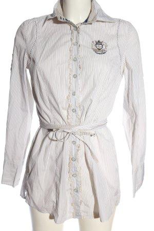 L'Argentina Hemd-Bluse weiß-hellgrau Streifenmuster Casual-Look