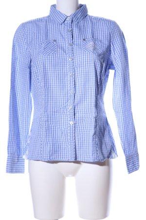 L'Argentina Langarm-Bluse blau-weiß Karomuster Business-Look