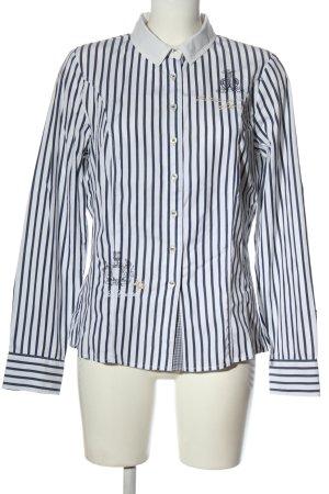L'Argentina Long Sleeve Shirt blue-white allover print elegant