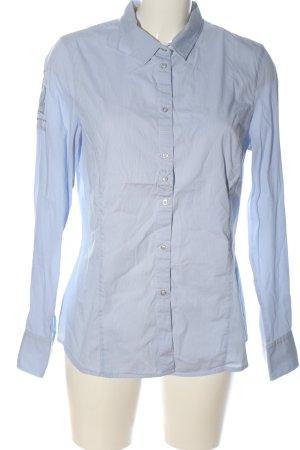 L'Argentina Langarmhemd weiß-blau Streifenmuster Business-Look