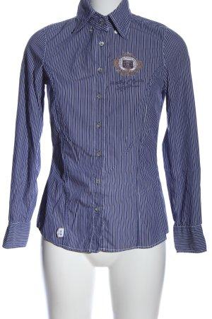 L'Argentina Langarmhemd weiß-blau Allover-Druck Business-Look