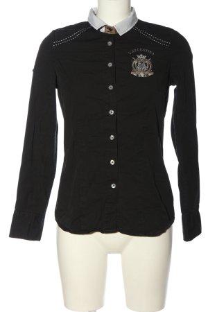 L'Argentina Long Sleeve Shirt black themed print casual look
