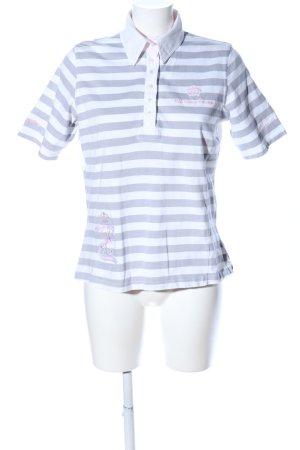 L'Argentina Polo-Shirt hellgrau-weiß Streifenmuster Casual-Look