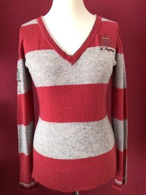 Largentina Jersey con cuello de pico rojo frambuesa-gris claro Algodón