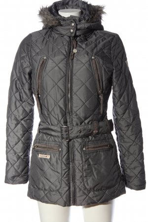 L'Argentina Quilted Coat light grey quilting pattern casual look