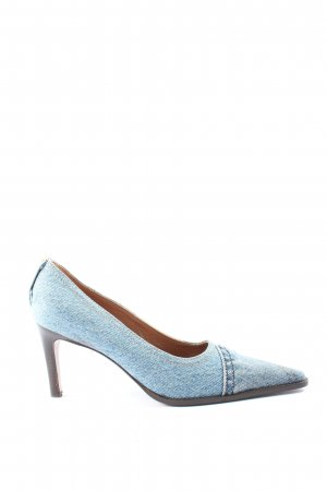L'Autre Chose Spitz-Pumps blau-braun Casual-Look