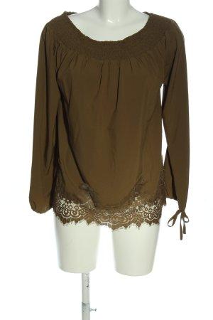 L.B.C Carmen blouse bruin casual uitstraling
