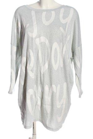 L.B.C Camisa holgada gris claro-blanco letras impresas look casual
