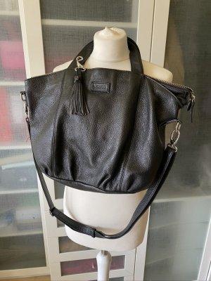 L.Credi Echtleder Tasche schwarz mit Tassen