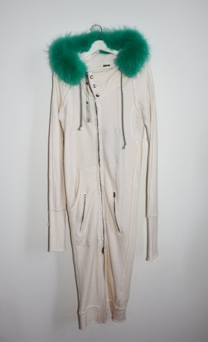 L.G.B. Manteau à capuche blanc cassé-turquoise tissu mixte