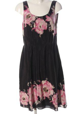 L.k. bennett Abito midi nero-rosa motivo floreale stile casual