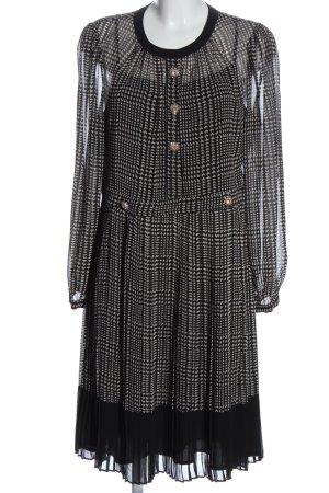 L.k. bennett Vestido con enagua negro-blanco estampado con diseño abstracto