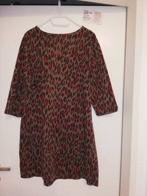 L Kleid christian Berg braun rot Leopardenmuster
