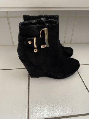 L.Lux.Shoes Platform Booties black-gold-colored
